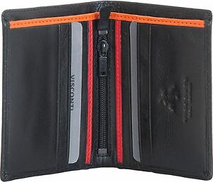 """VISCONTI LUXURY BLACK LEATHER /""""M/"""" WALLET 2 NOTE SECTIONS /& COIN PURSE BD10"""