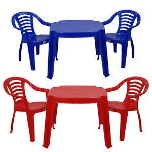 Childrens Kids Plastic Table And Chairs Red Or