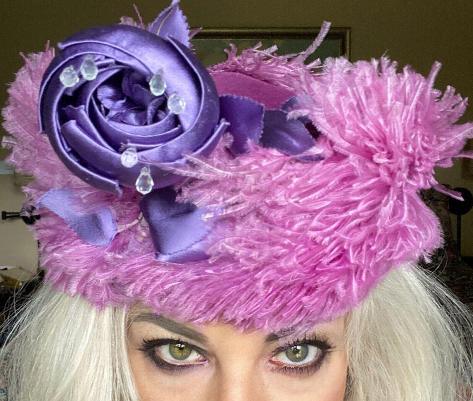 VINTAGE 1940's SUZY LEE Purple Feather Flowers Ha… - image 3