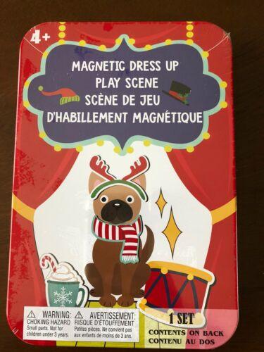 Magnetic Holiday Dress Up Set Pug Dog New 36 Magnets And Tin Stocking Stuffer