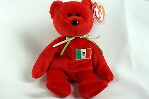 eb4bab98901 Ty Beanie Baby RED OSITO Bear Mexico w  Tag ERRORS Plush Toy RARE PE ...