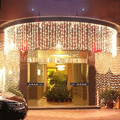 110V 300 LED Outdoor Christmas String Fairy Wedding Curtain Light 3Mx3M