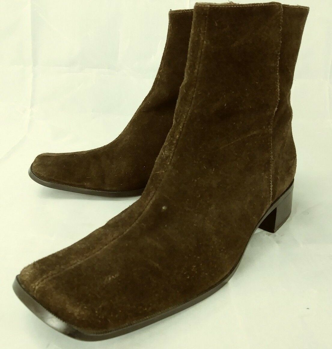 Unisa Womens Boots Ankle WHEEL US 8 B Brown Suede Zip Heels Work Dress shoes 96