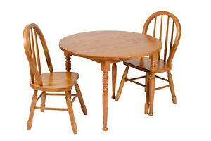 Fine Details About Amish Furniture Heirloom Childs Round Oak Table And Chairs Sets Made In Usa Complete Home Design Collection Barbaintelli Responsecom
