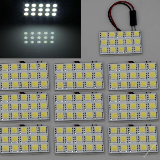100 X White 15 5050 SMD LED Festoon Dome/Door Light Panel Bulb+T10 Adapter 12V