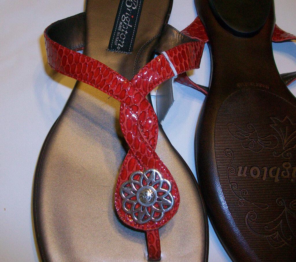 NWT Brighton Poetry Cherry ROT Leder Snake Skin Embossed Patent Leder ROT Sandales 8 M c2dfeb