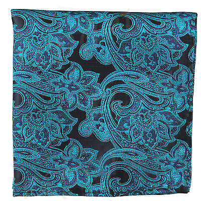 New men/'s polyester paisley green hankie pocket square formal wedding