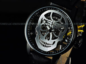 New-Invicta-Men-48mm-Silver-Skull-TY2807-Mechanical-S1-Rally-Black-IP-SS-Watch
