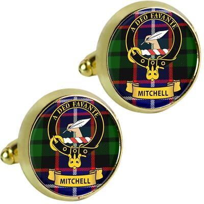 Sterling Silver and Karat Gold Mitchell Clan Crest Scottish Cufflinks; Pewter