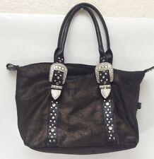 Bueno Black Bronze Western Buckle Bling Purse Hand Bag Crystals Excellent!