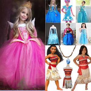 Nina-Vestido-Princesa-Aurora-Anna-Elsa-Moana-Frozen-Disfraz-Disfraz-Lote