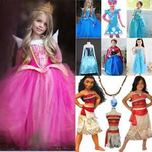 Image is loading Top-Girls-Frozen-Princess-Dresses-Aurora-Anna-Elsa-  sc 1 st  eBay & Top Girls Frozen Princess Dresses Aurora Anna Elsa Moana Costume ...