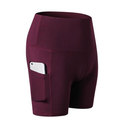 Women Solid High Waist Yoga Abdomen Control Training Running Yoga Pants Shorts