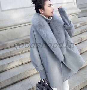 Womens Giacca Loose Fur Outwear Trench Capo Winter taglia Collar New Wool Fit dwqxvdB6