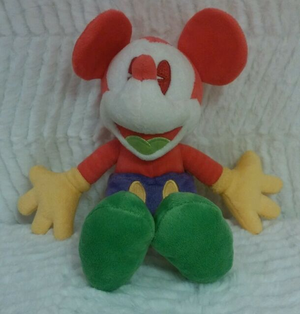 "Disney Parks Mickey Mouse 9"" Coral Orange Green Neon Plush Toy Stuffed Animal"