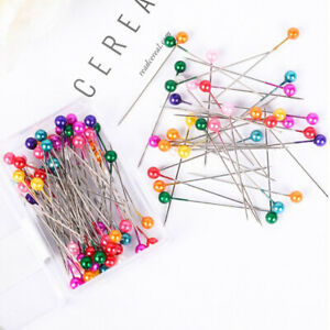 100Pcs-Dressmaking-Sewing-Pin-Straight-Pin-Round-Colorful-Head-Pearl-Corsage-r