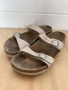 Women-039-s-Birki-039-s-By-Birkenstock-Foot-Bed-Slip-On-Sandals-Size-Eu-40-Striped