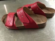 e0574a65f597eb Haflinger Womens Carrie Open Toe Casual Slide Cork Sandals Red Pomofora  Size 36