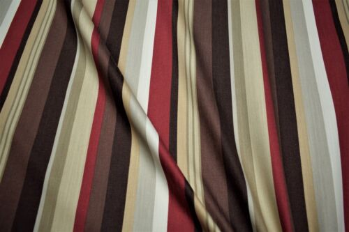 100/% Cotton Canvas Duck Red Brown Striped Upholstery Drapery Print Fabric