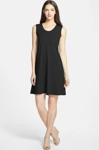 Eileen Fisher Neuf schwarz Souple Col V Viscose Jersey Shift Dress M 178