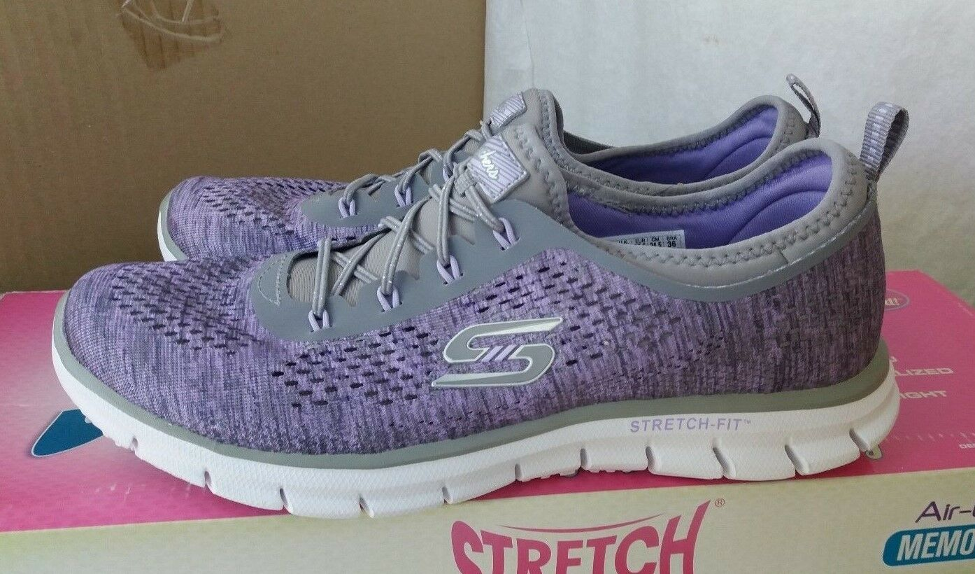 SKECHERS Stretch Fit: with Air Cooled Memory Foam - Grey/Violet