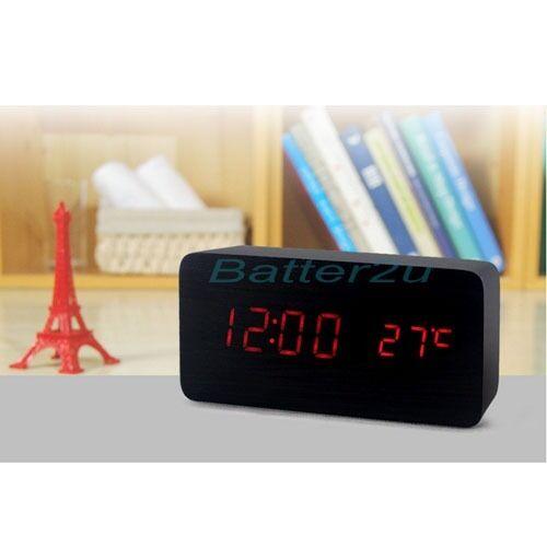 Sound Control Wooden USB//AA LED Digital Alarm Desk Clock Calendar Thermometer