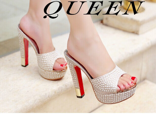 Schuhes slippers sabot Sandale heel pin 13 cm gold stiletto élégant 9296