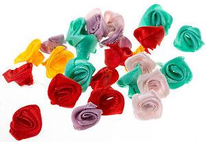 LOT-10-20-FLEURS-ROSE-EN-RUBAN-SATIN-15-mm-Couleur-Mixte-Fleur-Embelissiement