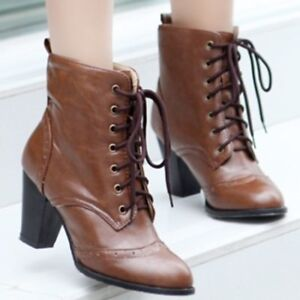Women Vintage British Ankle Boots Wing