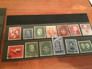 Germany-top-values-of-early-Bundespost-1950-039-s-stamps-high-cat-value