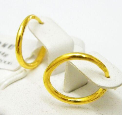 Fine Authentic 24K Yellow Gold Earrings Women/'s Elegant Circle Hoop Earrings10mm