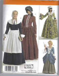 Pattern new colonial dress 6 12 14 22 apron hat scarf for Colonial hat template