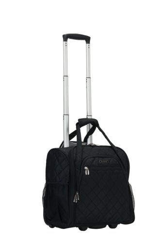 Rockland Melrose Wheeled Underseat Carry On Luggage with In-Line Wheels Black