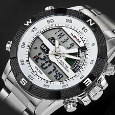 Weide Mens Sport Analog Digital LCD Backlight Stainless Steel Quartz WristWatch