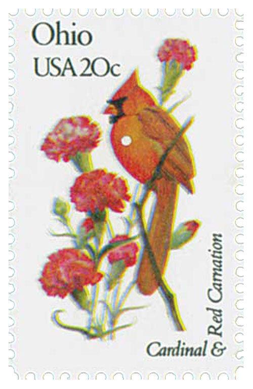 1982 20c State Birds & Flowers Ohio, Cardinal & Red Car
