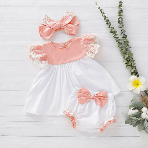 Bow PP Shorts Headband Outfits Set Cute Baby Newborn Girl Kids Lace Dress Tops