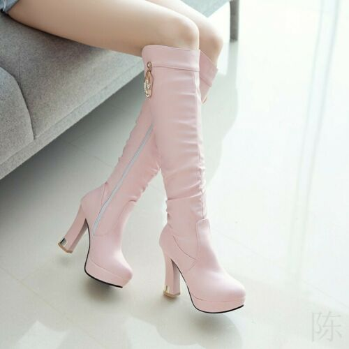 Ladies Knee High Boots Slouch Block High Heels Side Zip Casual Shoes Fashion SZ