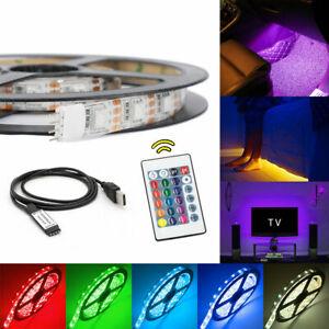 1m-2m-3m-4m-5m-USB-LED-Strip-Lights-IP65-5050-RGB-TV-LED-Strip-Remote-Control