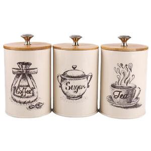 Details about Vintage Style Tea Coffee Sugar Kitchen Storage Canisters Jars  Pots Set