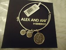 Alex and Ani Initial A Charm Bangle Bracelet  Russian Silver New Tag Card & Box