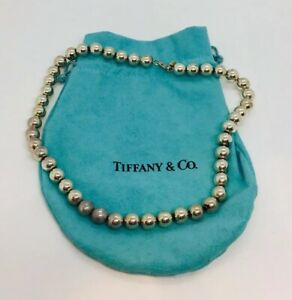 Tiffany Co Authentic Sterling Silver Beaded Necklace 18 Ebay