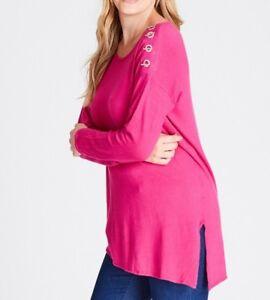 Crossroads-Soft-Asymmetrical-Hem-Knit-Pink-Long-Sleeve-Top-Size-16-Free-Post