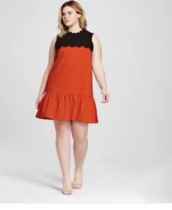 e7d31b58db3f 3X Victoria Beckham Dress Womens Orange Black NWT Scallop Trim Drop ...