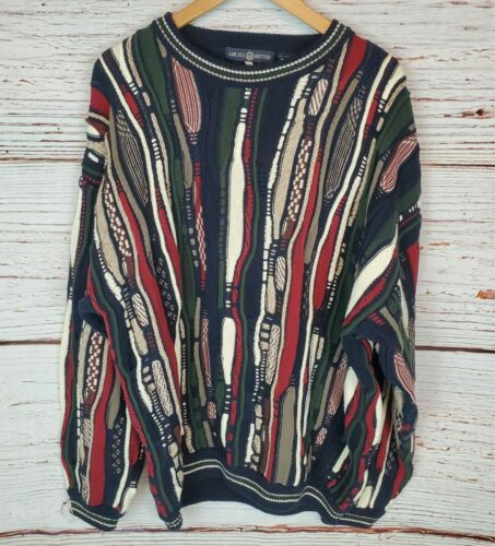 Vintage 80s Sweater Isle Knitters Mens XL 3D Cable