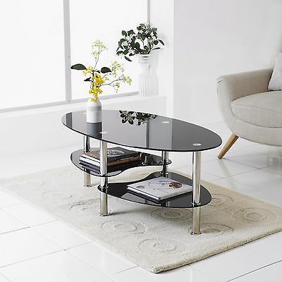 Modern Rectangle Oval Glass & Chrome Living Room Coffee Table With Lower Shelf