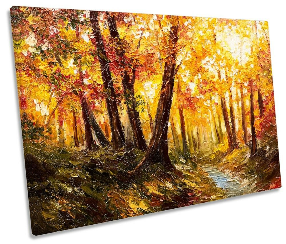 Autumn Orange Forest Forest Forest Repro Framed SINGLE CANVAS PRINT Wall Art 41d85a