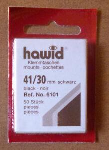HAWID-STAMP-MOUNTS-BLACK-Pack-of-50-Individual-41mm-x-30mm-Ref-No-6101