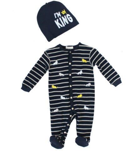9M NWT Petit Lem Baby Boy Hat and Embroidered Lion Footie Set ~ Size 3M 6M