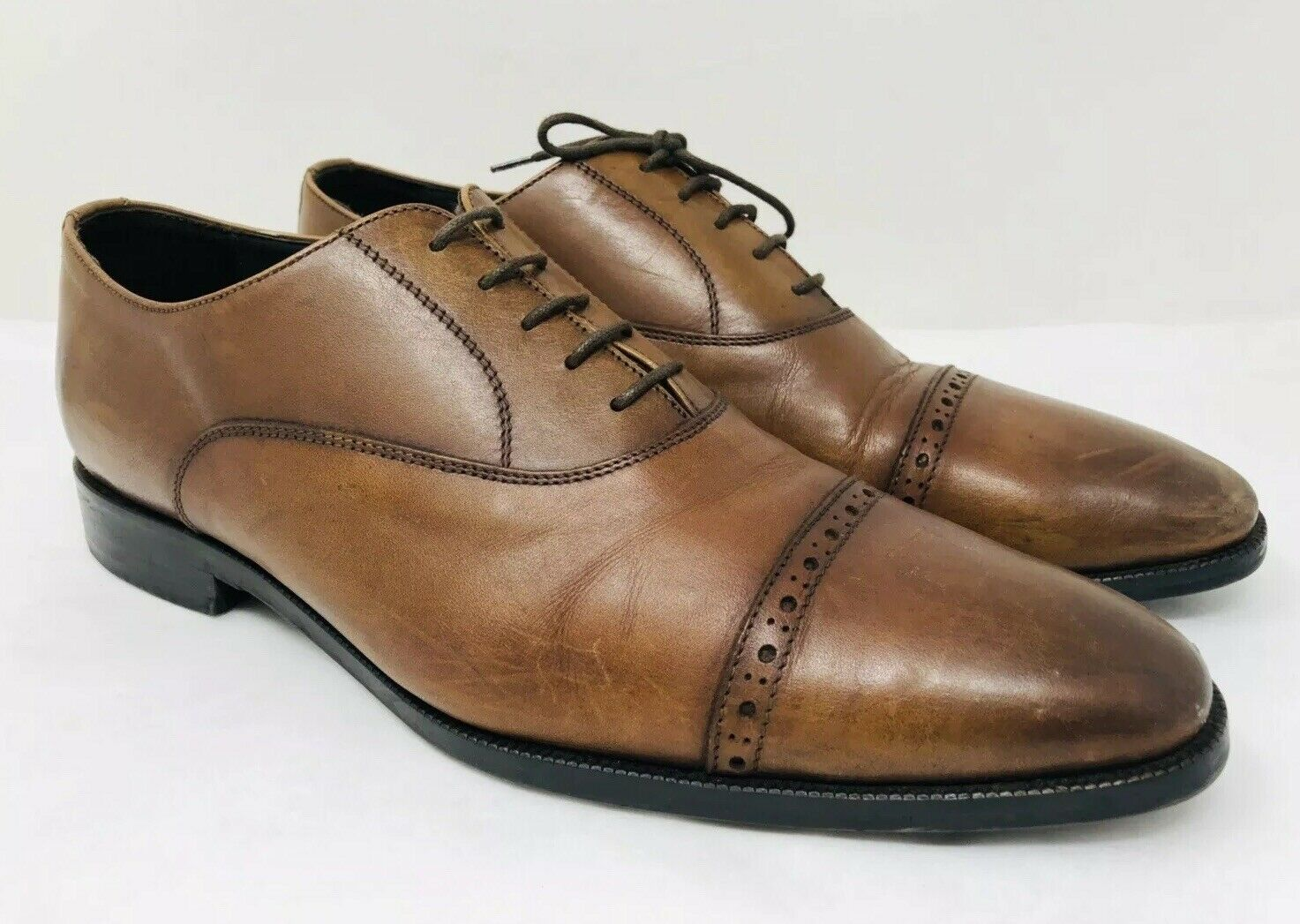 To Boot New York Men's Harding Cap Toe Oxford Cognac Leather Size 10 MSRP