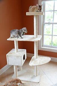 57-034-Glee-Pet-Cat-Tree-Condo-House-Scratching-Post-Perch-Tower-Furniture-Beige